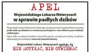 Apel Wojewódzkiego Lekarza Weterynarii w sprawie padłych dzików