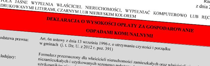 Informacja - Deklaracja o wysokości opłaty za gospodarowanie odpadami komunalnym