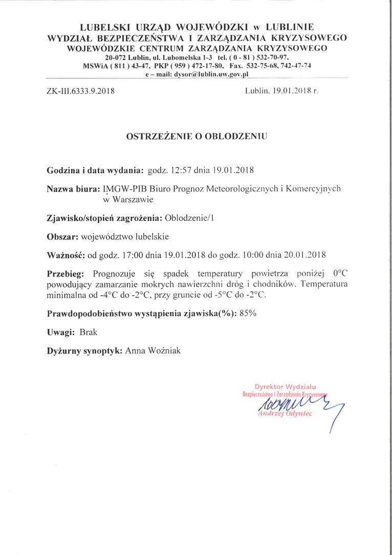 PROGNOZA NIEBEZPIECZNYCH ZJAWISK METEOROLOGICZNYCH z dn. 19.01.2018
