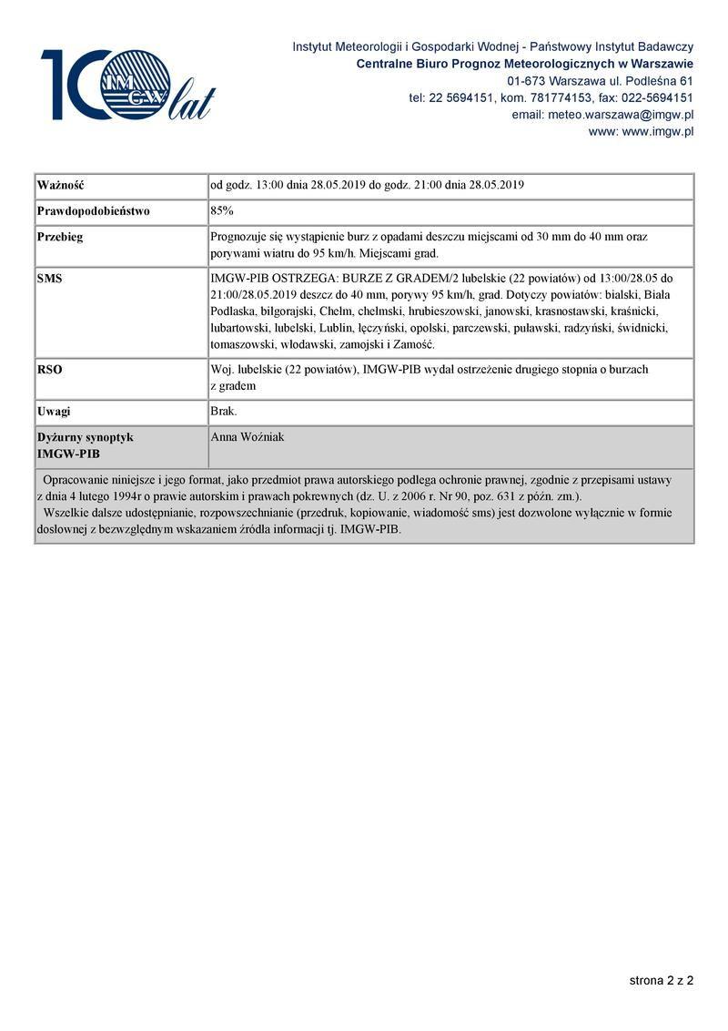 OSTRZEŻENIA METEOROLOGICZNE ZBIORCZO NR 50 2