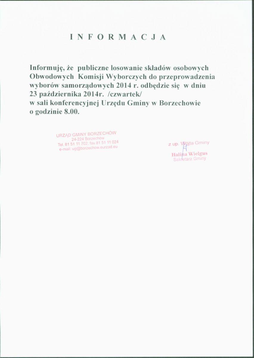 Informacja o losowaniu komisji