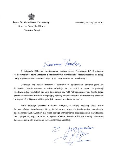 List szefa BBN Stanisława Kozieja