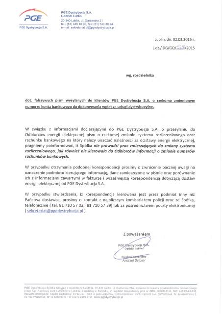 Pobierz oficjalne pismo z PGE