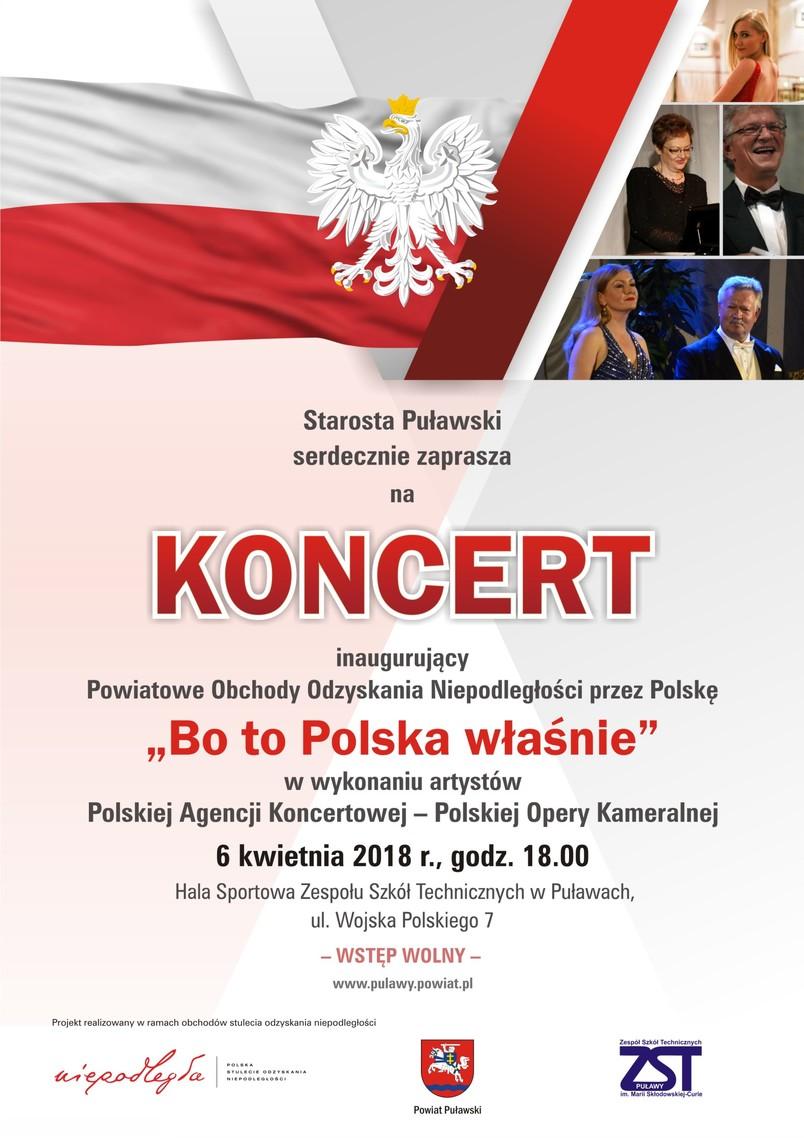 Plakat reklamujący koncert Bo To Polska właśnie, biały orzeł, flaga Polski, artyści
