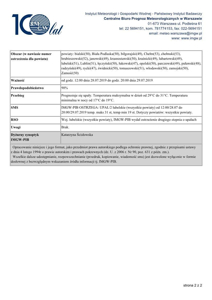 OSTRZEŻENIA METEOROLOGICZNE ZBIORCZO NR 81 2