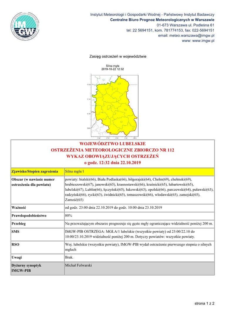 OSTRZEŻENIA METEOROLOGICZNE ZBIORCZO NR 112