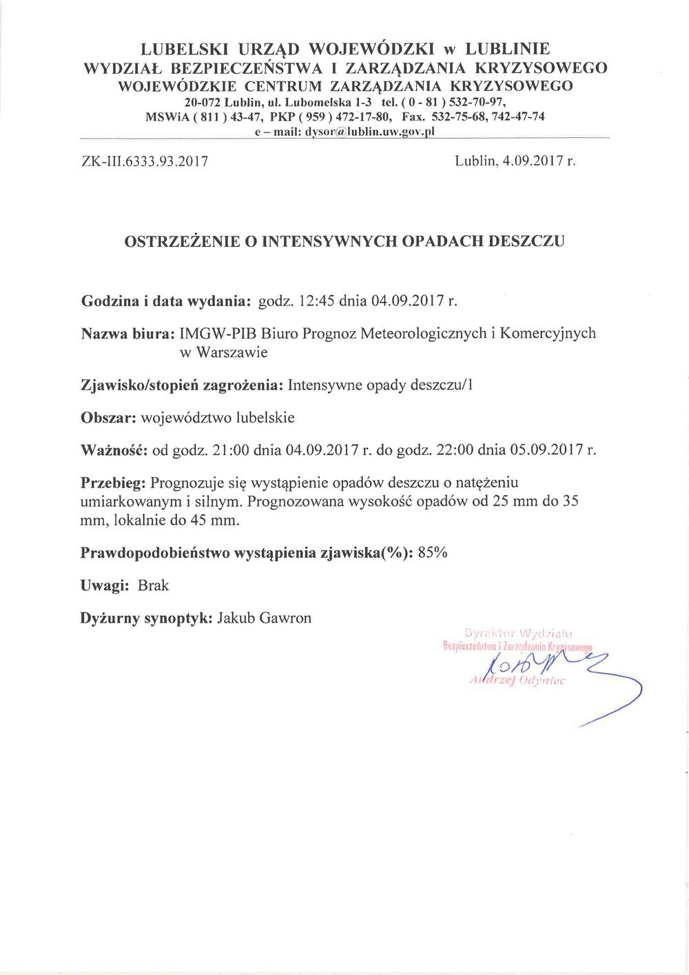 Ostrzeżenie o intensywnych opadach deszczu z dn. 4.09.2017 r.
