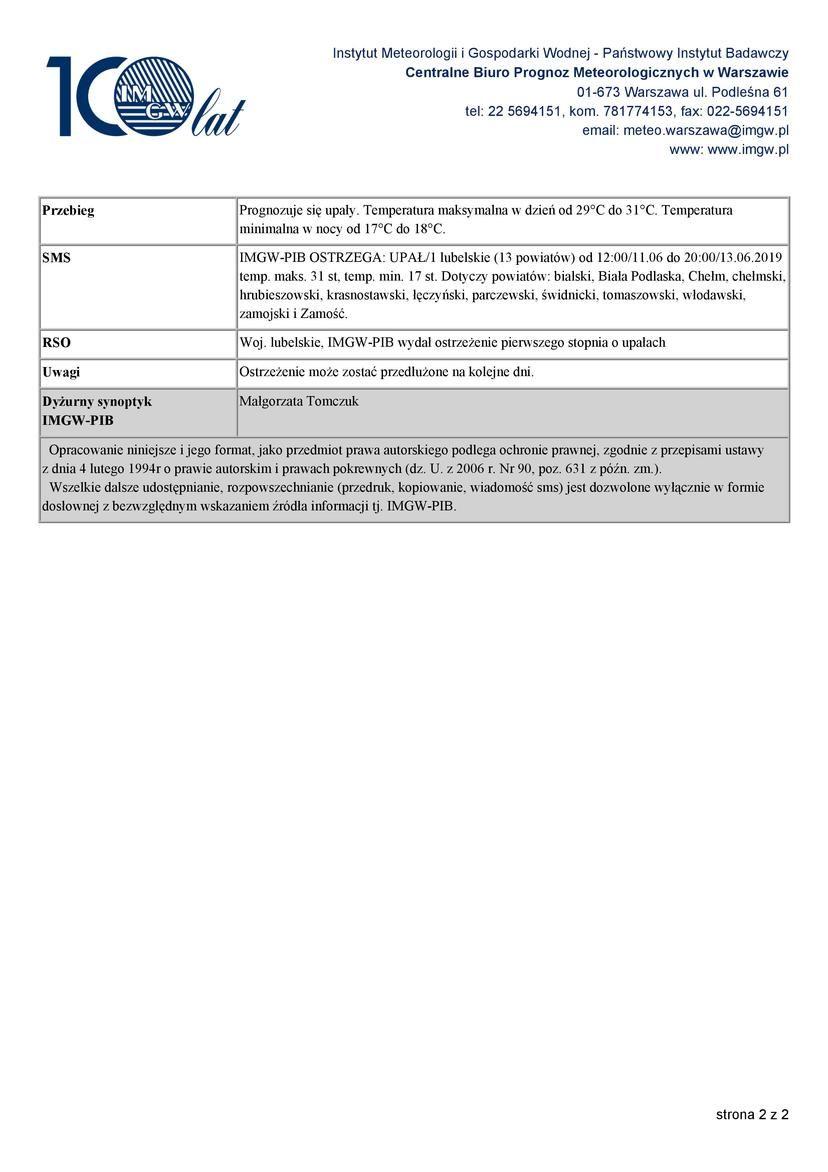 OSTRZEŻENIA METEOROLOGICZNE ZBIORCZO NR 58 2