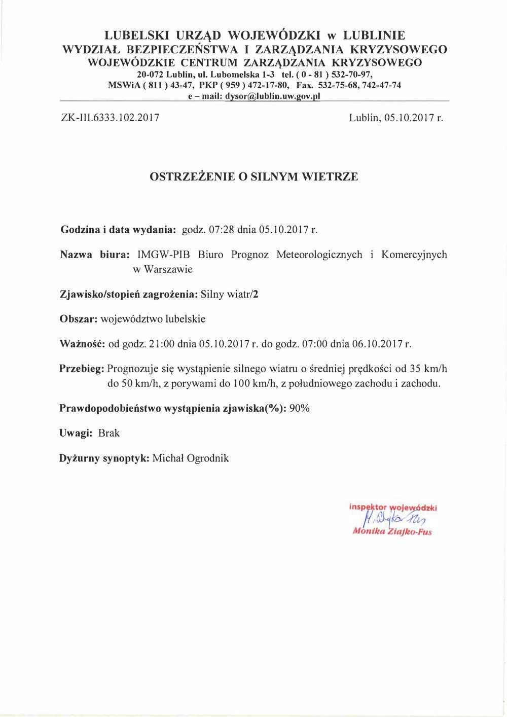 Zjawisko/stopień zagrożenia: Silny wiatr/2 Obszar: województwo lubelskie
