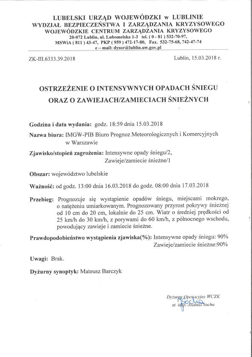 Ostrzeżenie o intensywnych opadach śniegu oraz o zawiejach śnieżnych 15.03.2018 r.pdf