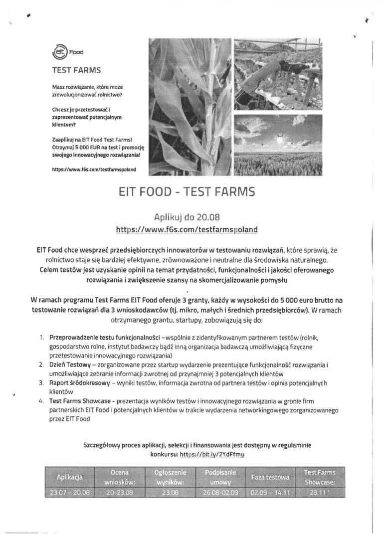 Informacja - EIT FOOD - TEST FARMS