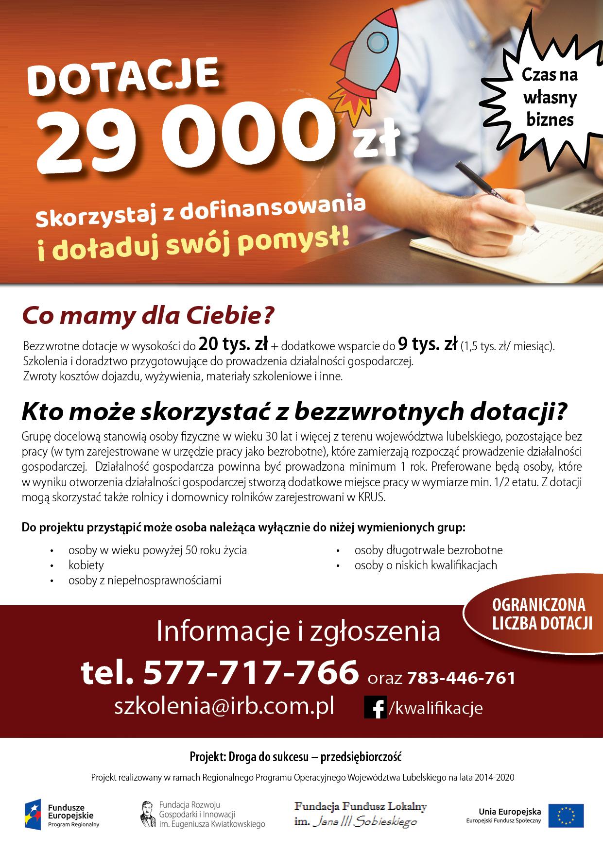 Dotacje w wysokości do 29 tys. zł na założenie firmy