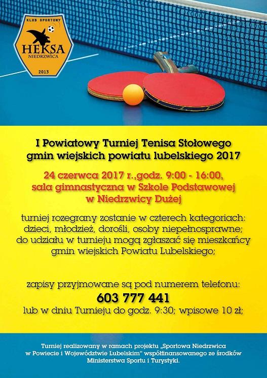 Powiatowy Turniej Tenisa Stołowego - już w sobotę w Niedrzwicy Dużej!