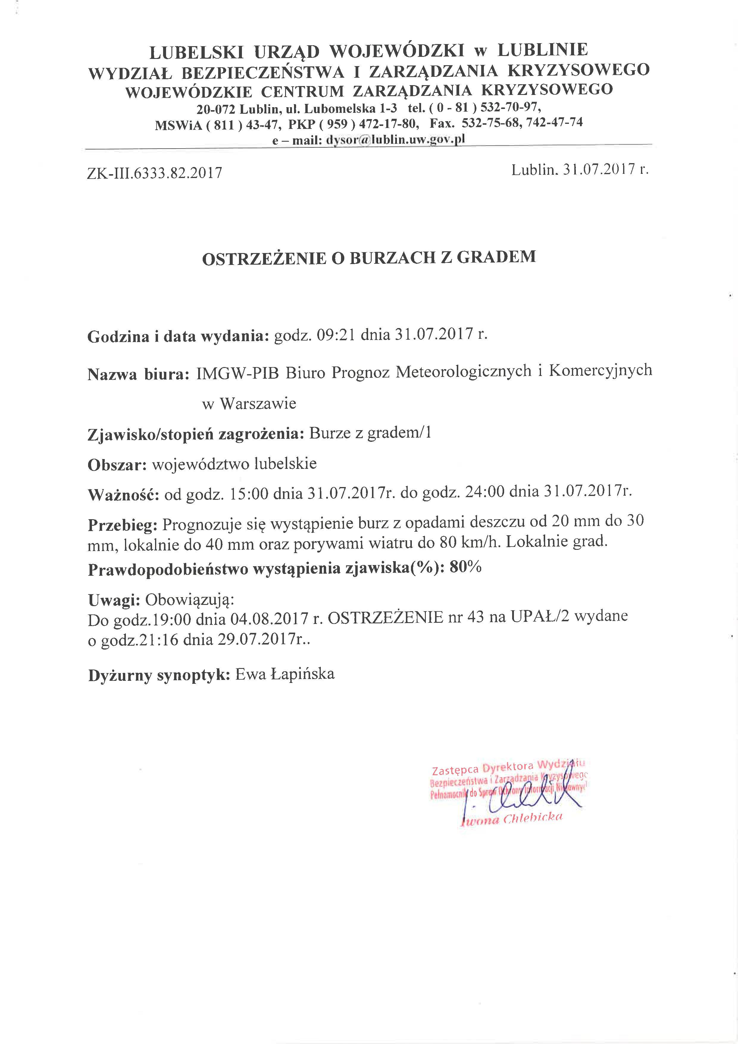 Ostrzeżenie o burzach z gradem 31.07.2017 r. [PDF, 47 KB]