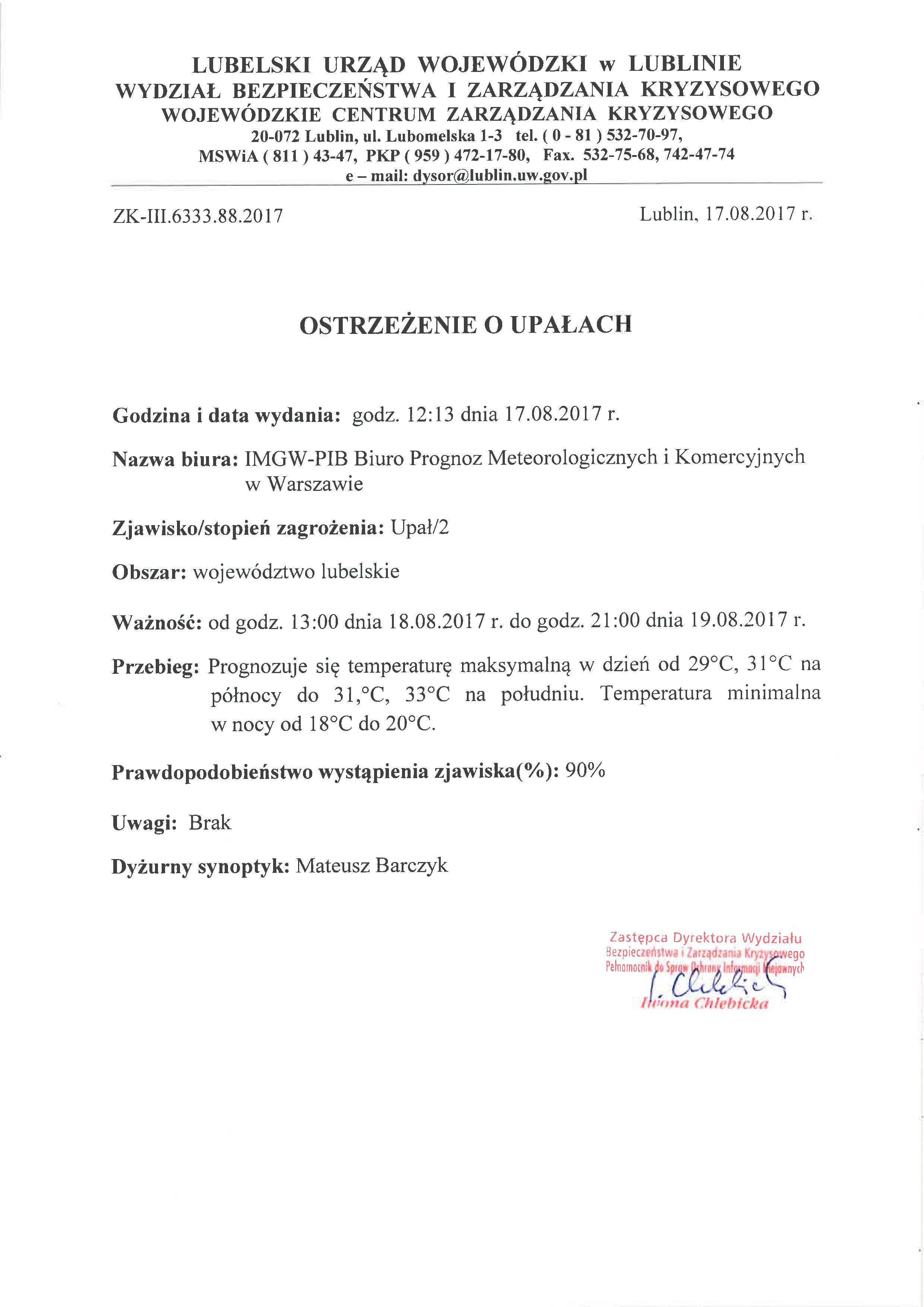 Ostrzeżenie o upałach z dn. 17.08.2017 r.