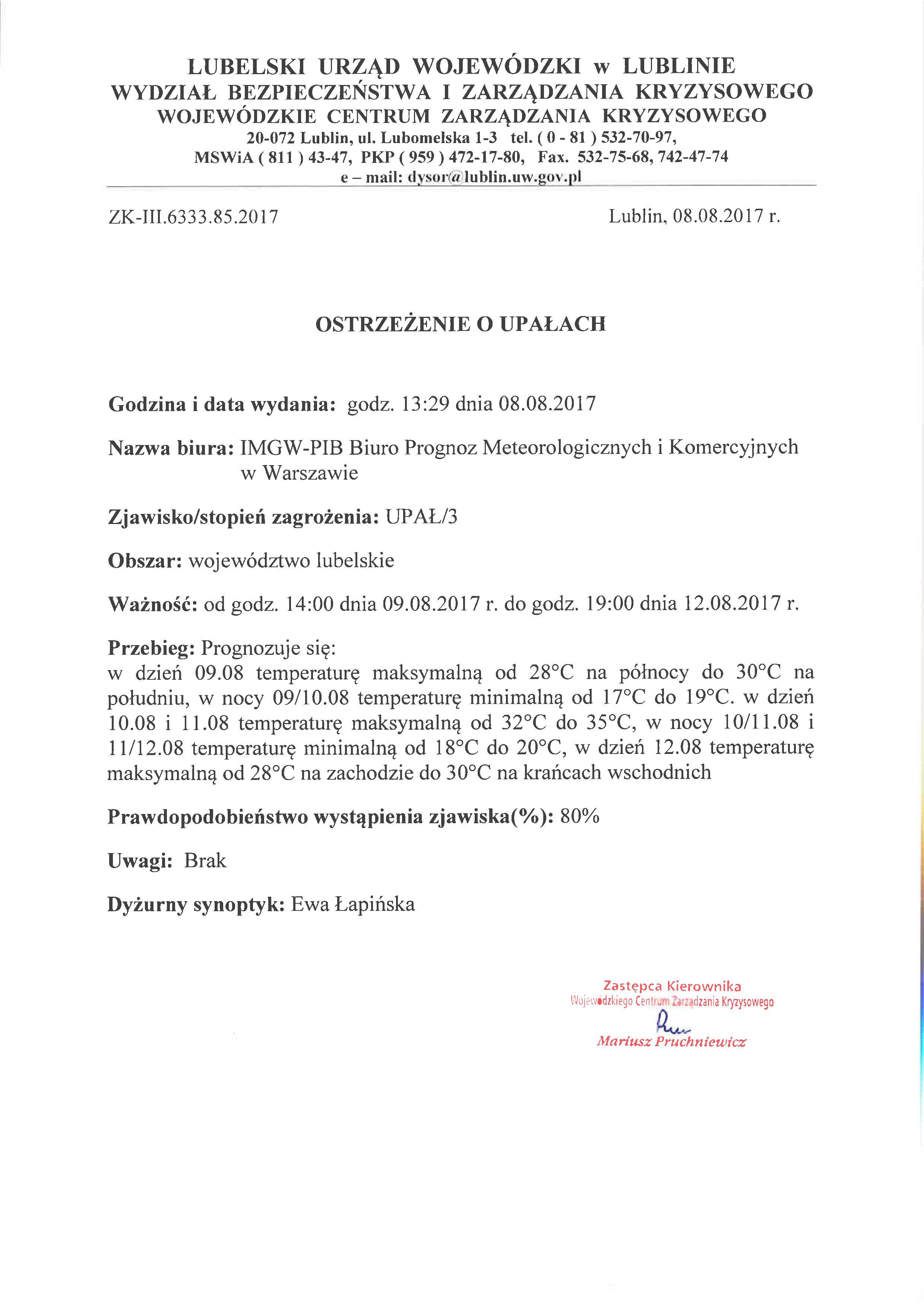 Ostrzeżenie o upałach z dn. 8.08.2017 r.