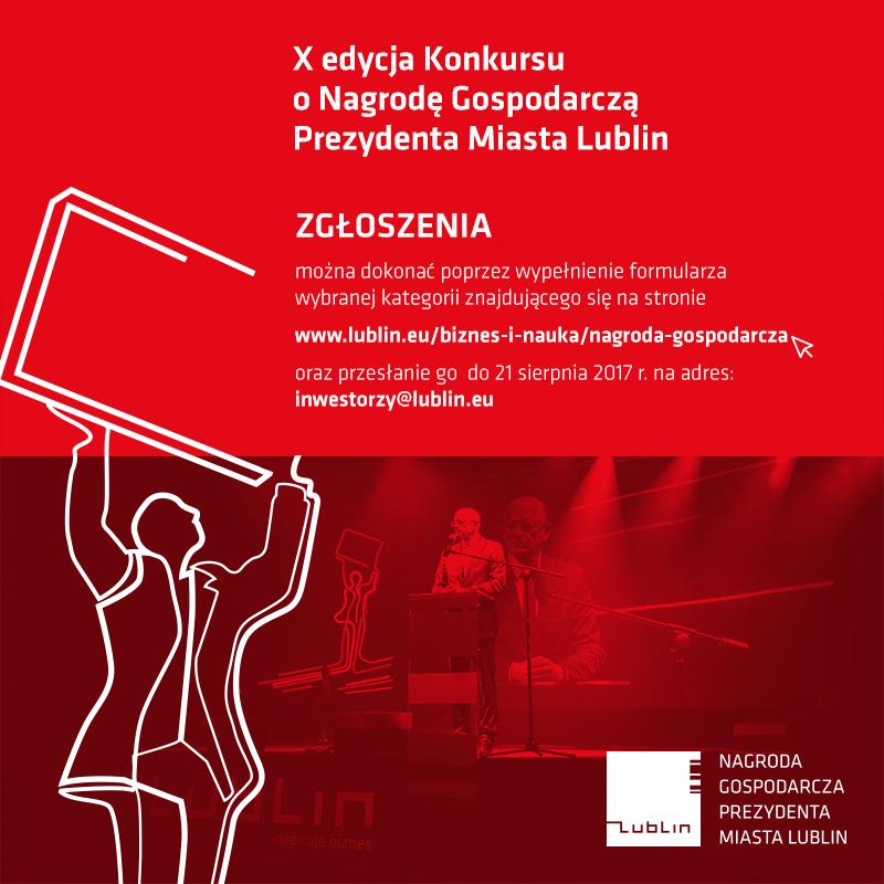 X Jubileuszowa edycja Konkursu o Nagrodę Gospodarczą Prezydenta Miasta Lublin - zgłoszenia do 21 września