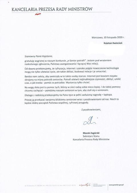 pismo Ministerstwo Cyfryzacji