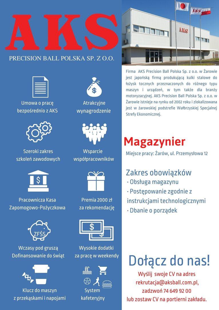 oferta pracy Magazynier AKS