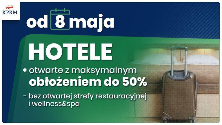 obostrzenia koronawirus KPRM od 8 maja НOTELE otwarte z maksymalnym obłożeniem do 50% - bez otwartej strefy restauracyjnej i wellness&spa