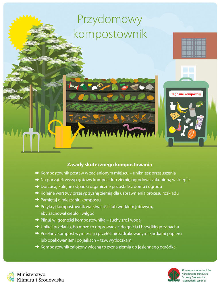 grafika  Przydomowy kompostownik Tego nie kompostuj Zasady skutecznego kompostowania - Kompostownik postaw w zacienionym miejscu – unikniesz przesuszenia - Na początek wysyp gotowy kompost lub ziemię ogrodową zakupioną w sklepie - Dorzucaj kolejne odpadki organiczne pozostałe z domu i ogrodu - Kolejne warstwy przesyp żyzną ziemią dla usprawnienia procesu rozkładu - Pamiętaj o mieszaniu kompostu - Przykryj kompostownik warstwą liści lub workiem jutowym, aby zachował ciepło i wilgoć - Pilnuj wilgotności kompostownika - suchy zroś wodą - Unikaj przelania, bo może to doprowadzić do gnicia i brzydkiego zapachu - Przelany kompost wymieszaj i przełóż niezadrukowanymi kartkami papieru lub opakowaniami po jajkach - tzw.wytłoczkami - Kompostownik założony wiosną to żyzna ziemia do jesiennego ogródka Ministerstwo Klimatu i Środowiska Sfinansowano ze środków Narodowego Funduszu Ochrony Środowiska SS I Gospodarki Wodnej
