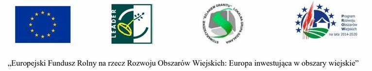 """logo dofinansowania: Unia Europejska LEADER Stowarzyszenie szlakiem granitu Program Rozwoju Obszarów Wiejskich na lata 2014-2020 """"Europejski Fundusz Rolny na rzecz Rozwoju Obszarów Wiejskich: Europa inwestująca w obszary wiejskie"""""""