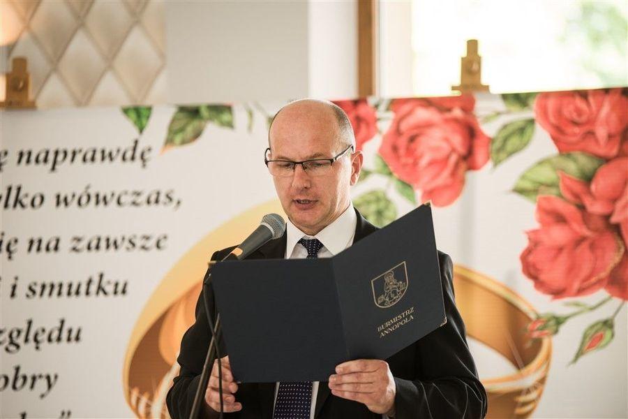 Wystąpienie Burmistrza Annopola Pana Mirosława Gazdy z okazji Jubileuszu 50-lecia Pożycia Małżeńskiego.