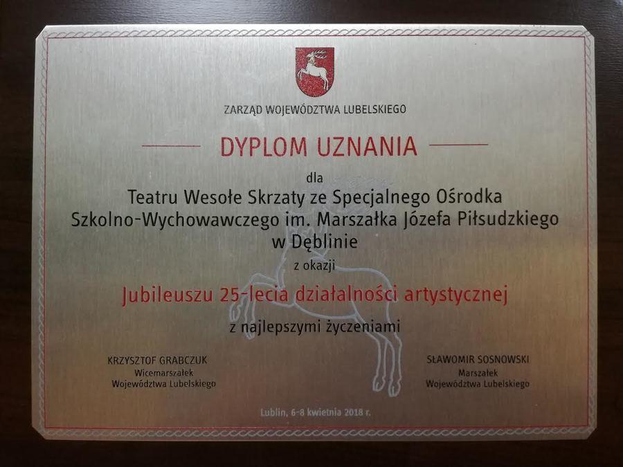 """JUBILEUSZ 25-LECIA TEATRU ,,WESOŁE SKRZATY"""" SOSW W DĘBLINIE"""