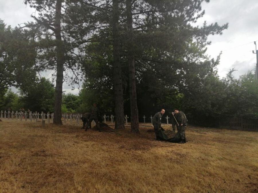 """Porządkowanie terenu cmentarza wojennego """"Balonna"""" w Dęblinie"""