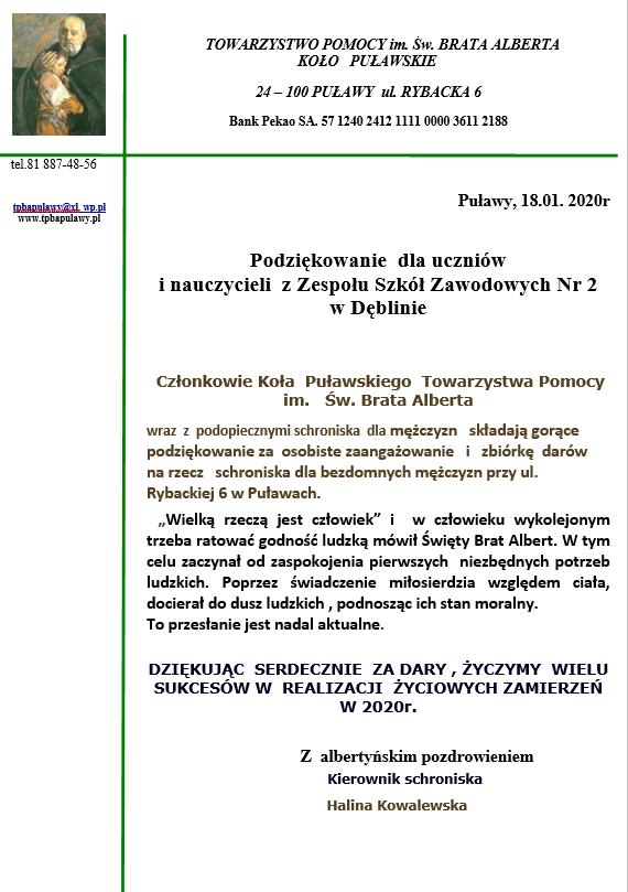 ZSZ nr 2 nie zapomina o bezdomnych w Puławach