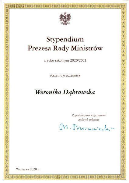 Dyplom Weronika Dąbrowska autor sekretariat szkoły