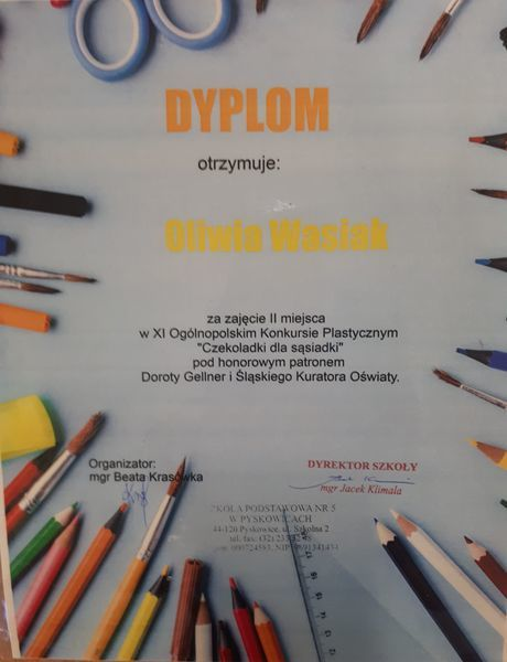 Dyplom dla Oliwii Wasiak