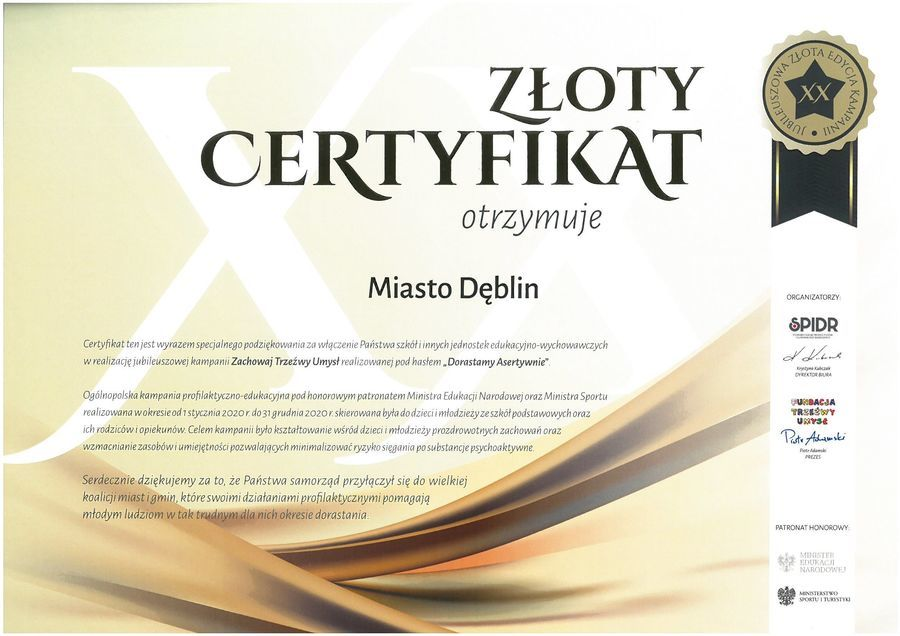 Certyfikat dla Miasta Dęblin za włączenie szkół i innych jednostek w realizację kampanii