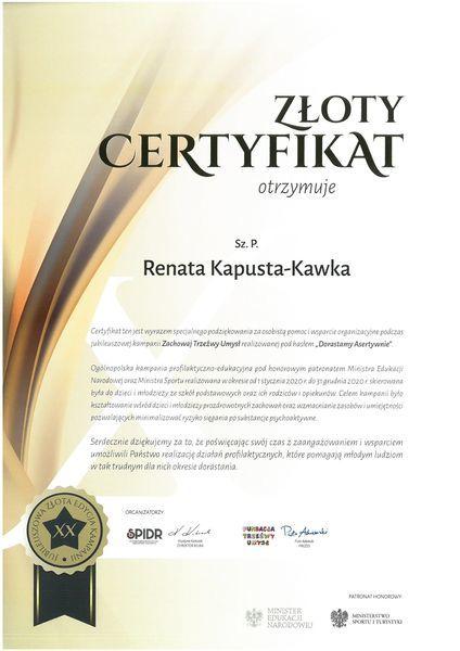 Certyfikat dla Pani Renaty Kapusty - Kawki za osobistą pomoc i wsparcie organizacyjne podczas kampanii