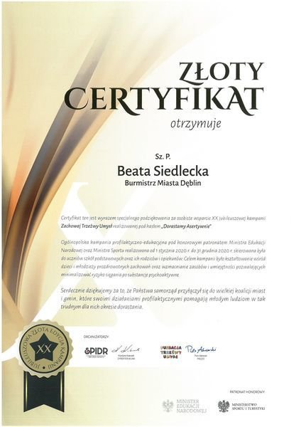 Certyfikat dla Pani Beaty Siedleckiej Burmistrza Miasta Dęblin za osobiste wsparcie w kampanię