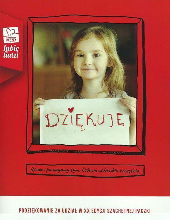 Plakat z dziewczynką trzymającą kartkę DZIĘKUJE