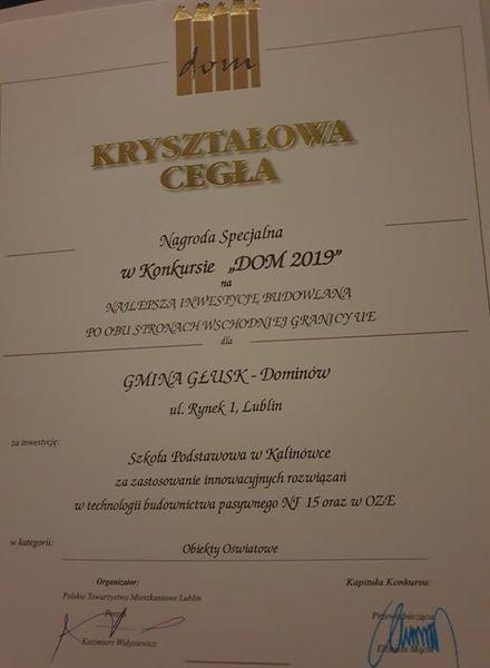 Wyróżnienie za rozbudowę ZS w Kalinówce