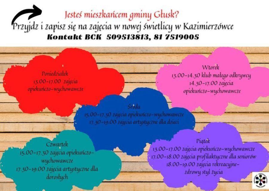Plakat: Jesteś mieszkańcem gminy Głusk? Przyjdź i zapisz się na zajęcia w nowej świetlicy w Kazimierzówce Kontakt BCK 509513813, 81 7519005