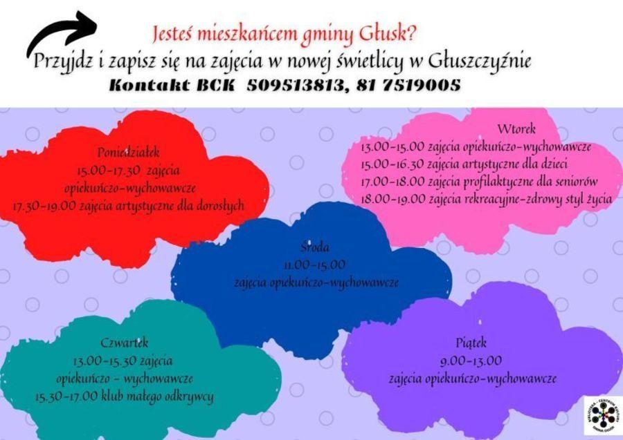 Plakat: Jesteś mieszkańcem gminy Głusk? Przyjdź i zapisz się na zajęcia w nowej świetlicy w Głuszczyźnie Kontakt BCK 509513813, 81 7519005