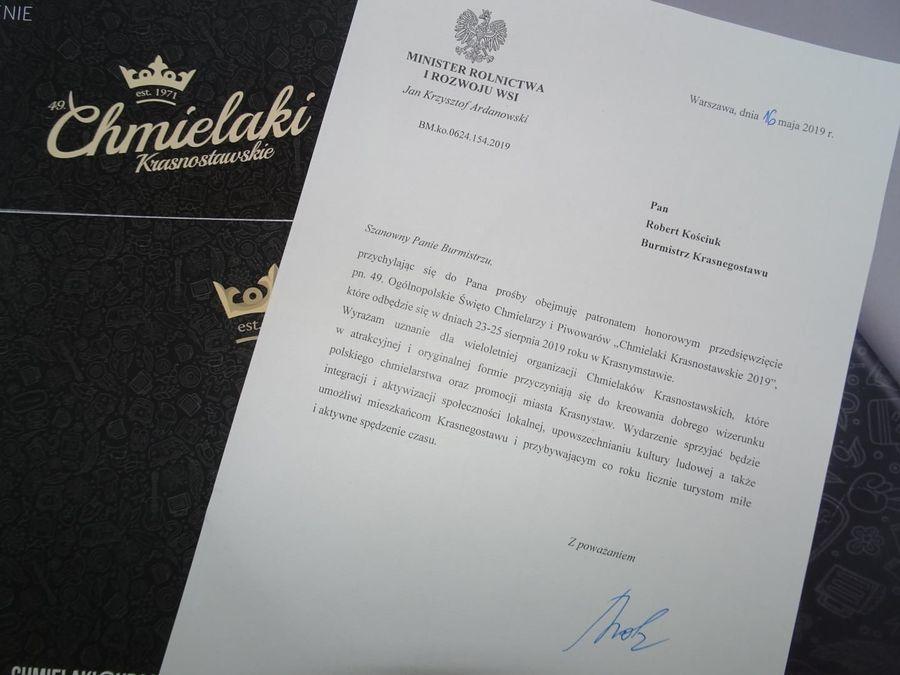 HONOROWY PATRONAT MINISTRA ROLNICTWA I ROZWOJU WSI DLA CHMIELAKÓW KRASNOSTAWSKICH!