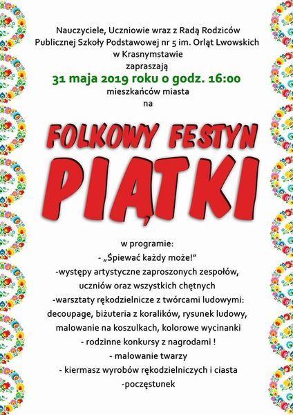 FOLKOWY FESTYN PIĄTKI 31.05.