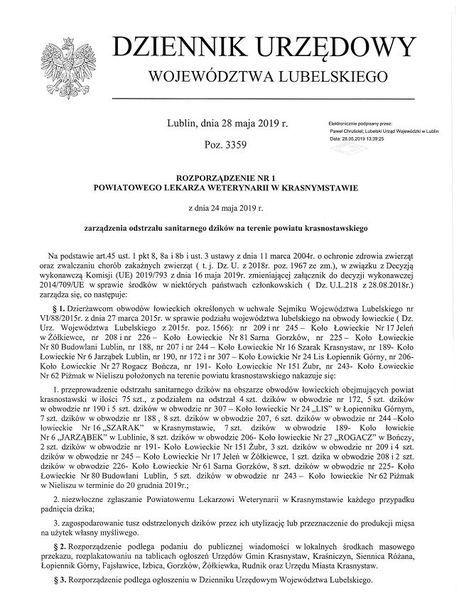 Rozporządzenie Powiatowego Lekarza Weterynarii w Krasnymstawie z dnia 24 maja 2019 r.