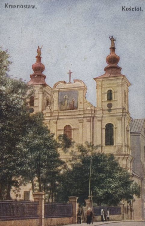 [MK/H/247] Kartka pocztowa- kościół pw. św. Franciszka Ksawerego w Krasnymstawie. ok. 1918 r.