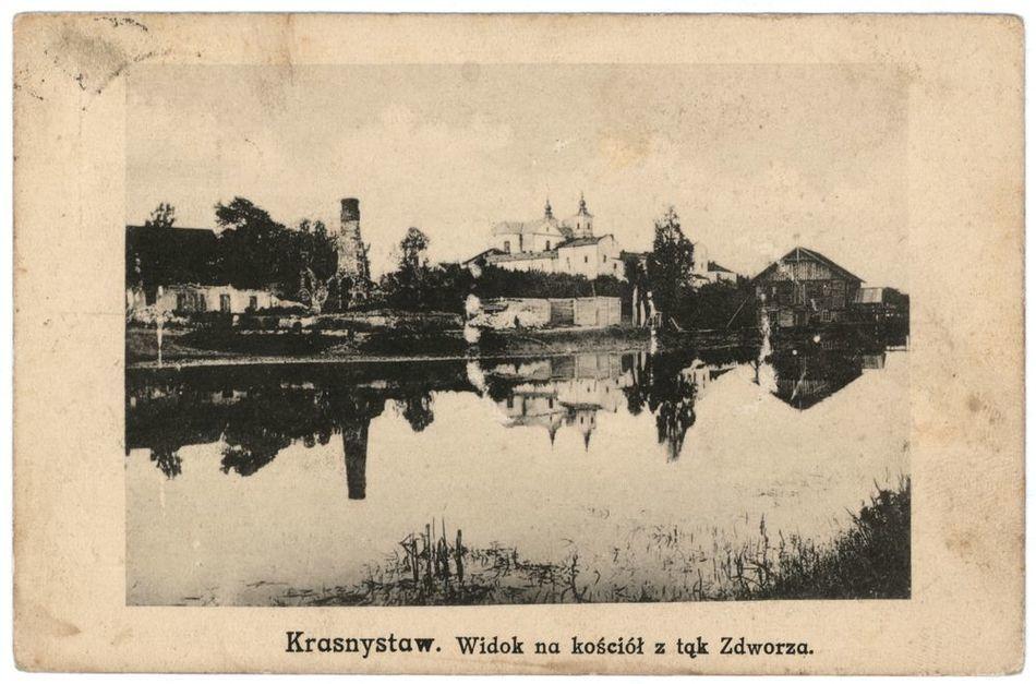[MK/H?1038] Krasnystaw. Widok na kościół od strony łąk. 1919 r.