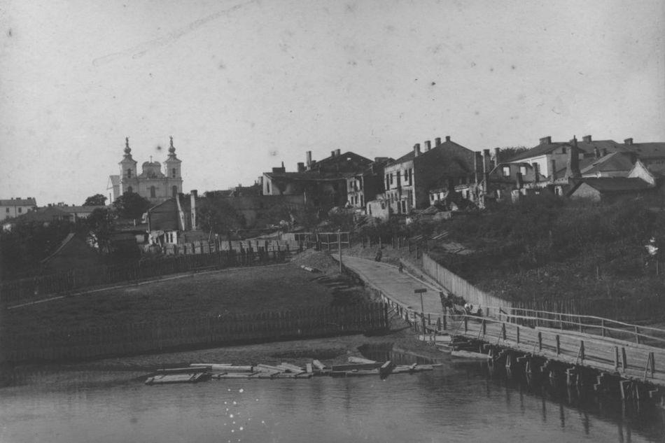 [MK/H/1695/022] Drewniany most na rzece Wieprz. Krasnystaw, 1914-1915.