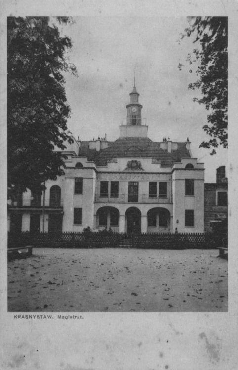 [MK/H/1642] Kartka pocztowa - Ratusz w Krasnymstawie. Lata 30 - te XX wieku.