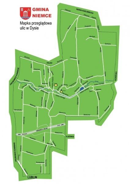 Mapa ulic w miejscowości Dys