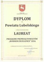 Dyplom dla laureata programu promocji powiatów