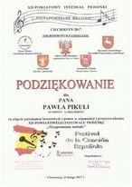 Podziękowania za objęcie patronatu i pomoc w organizacji XII Powiatowego Festiwalu Piosenki