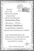 Podziękowania od szkoły podstawowej w Łubkach